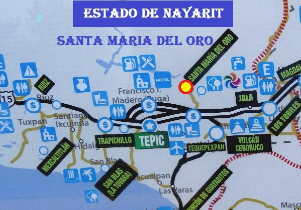 Ubicación de la población de Santa María del Oro y su Laguna. Cicloturismo México