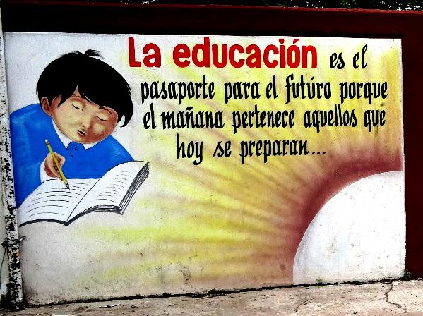 Mural 1 en la escuela de La Laguna de Sta. Ma. del Oro, Nayarit
