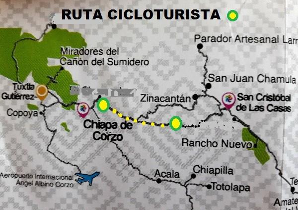 Ruta cicloturista Chiapa de Corzo-San Cristóbal de las Casas, por autopista
