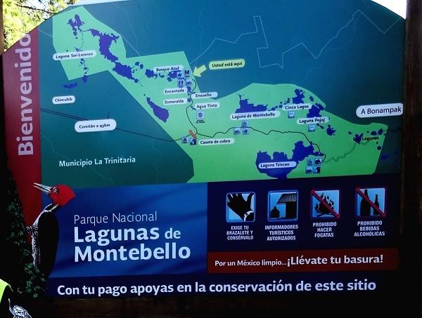 Cartel informativo Lagunas de Montebello Chiapas. Cicloturismo
