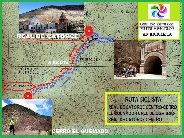 Ruta de bicicleta en Real de Catorce Pueblo Mágico y Cerro el Quemado Centro Ceremonial de la Cultura Huichol, por el camino sagrado Wiricuta