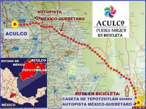 Ruta en bicicleta a Aculco Pueblo Mágico del Estado de México, con inicio en caseta Tepotzotlán autopista México-Querétaro
