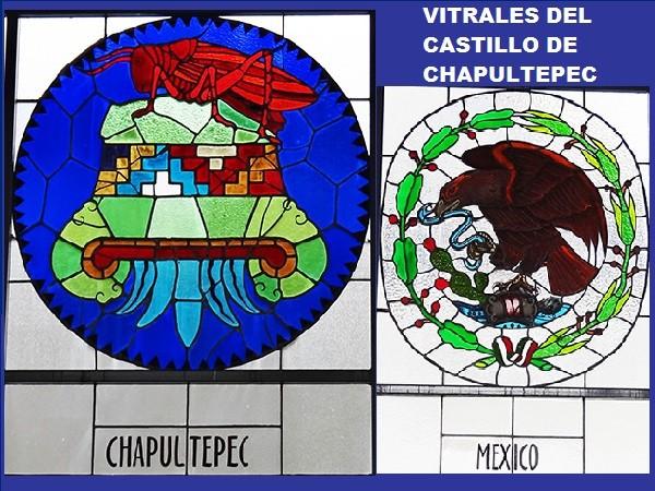 Vitral con escudo de Chapultepec y México, Castillo de Chapultpec, Alcaldía Miguel Hidalgo, CDMX