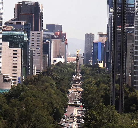 Monumento de Ängel de la Independencia y Paseo de la Reforma, vista desde el Castillo de Chapultepec, Alcaldía Miguel Hidalgo CDMX