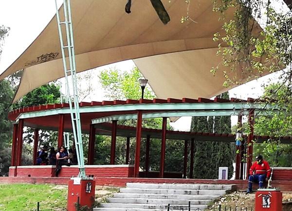 Acercamiento del Ágora, plaza para eventos culturales, Tlaltelolco, Alcaldía Cuauhtémoc, CDMX