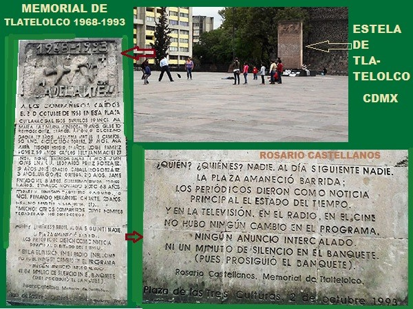Monumento en res Explanada de Las tres Culturas de Tlatelolco, con incripciones de los nombros de las víctimas de 1968 y poema de Rosario Castellanos. Alcaldía Cuauhtémoc, Ciudad de México, senderismo urbano