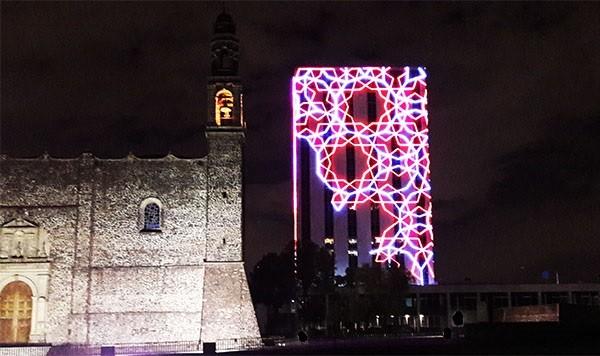 Vista nocturna de la Plaza de las Tres Culturas, Tlatelolco Alcaldía Cuauhtémoc, CDMEX, senderismo urbano cultural